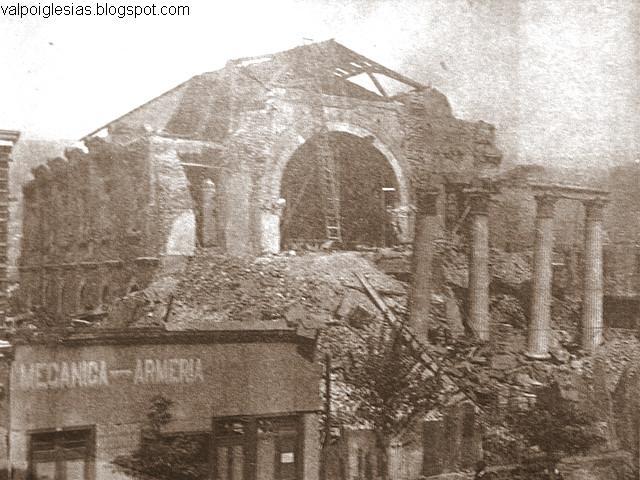 Secuencia de demolición del frontis luego del terremoto de 1906.